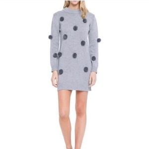 English Factory | Gray Furry Pompom Knit Sweater